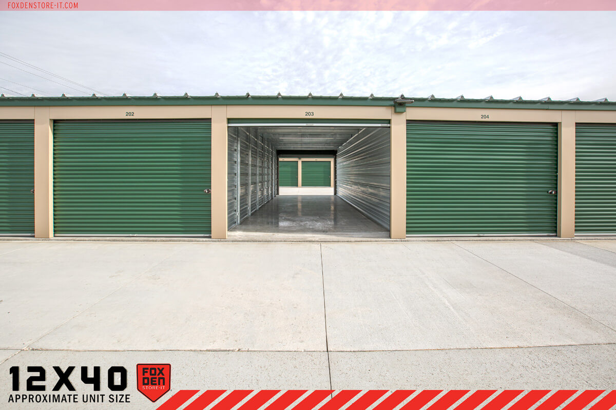 View of drive through storage unit open on both ends