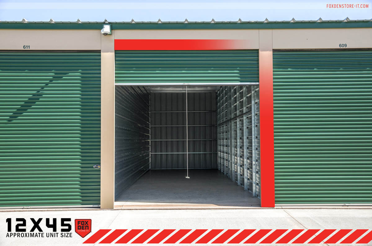 View of open storage unit