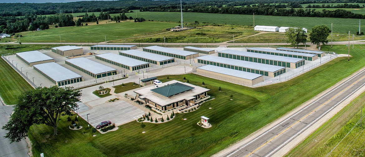 Aerial view of Fox Den Storage Units in Janesville, WI on Hackbarth Road and Highway 14